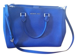 Michael Kors Leather Satchel in Blue