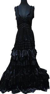 Jenny Packham Silk Tiered Ruffle Beaded Embroidered Dress