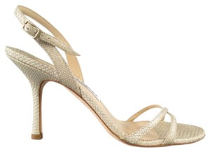 Manolo Blahnik Lizard Exotic Embossed Gold Beige Sandals