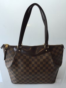 Louis Vuitton Canvas Brown Lv Tote in Damier ebene