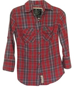 Super Dry 3/4 Sleeve Kitson Plaid Shirt Plaid Button Down Shirt Red/blue