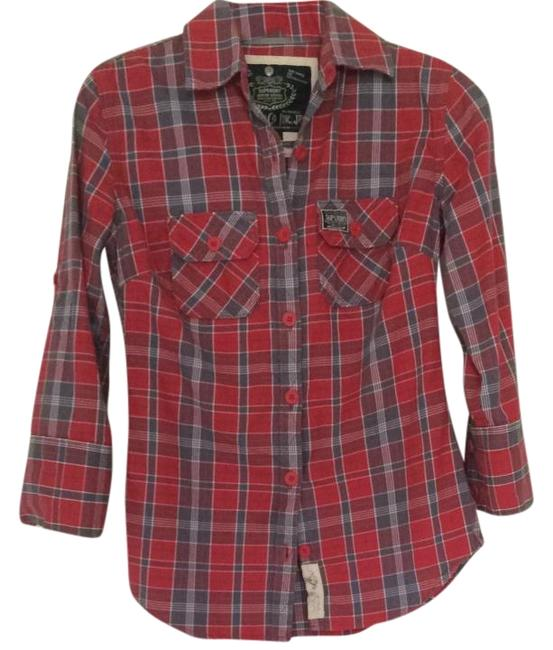 Item - Red/Blue Plaid Button-down Top Size 4 (S)
