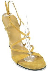 Gucci Suede Stiletto Summer Mustard Yellow Sandals