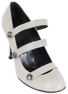 Jill Stuart Caged Leather Mary Jane Strappy Grey Pumps