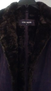 Steve Madden Leather Faux Fur Lining Fur Coat