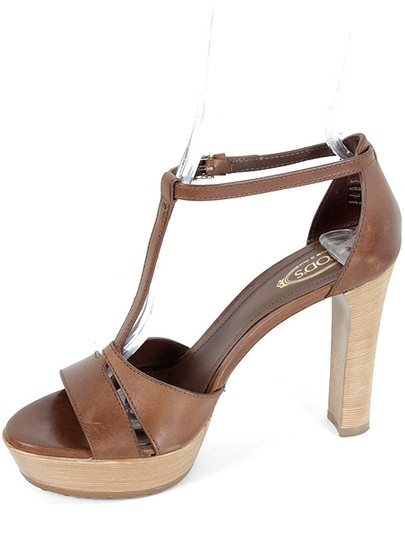 Tod's T-strap Sandal Leather Wood Summer Brown Platforms
