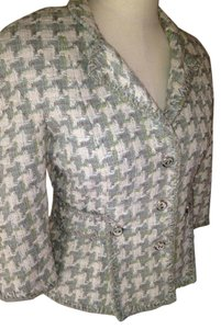 Chanel Tweed Plaid Grey Ivory Green Blazer