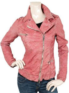 Giorgio Brato Leather Biker Motorcycle Bomber Pink Jacket