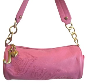 Juicy Couture Barrell Leather Pinkjuicy Used Dressup Gold Hardware Shoulder Bag