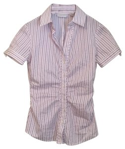 New York & Company Button Down Shirt White with pink and purple pinstripe