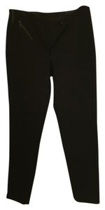 Miu Miu Zipper Crossover Front Snap Straight Pants Black