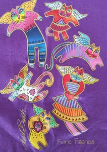 Laurel Burch Cotton Feline Faeries Long Sleeve T Shirt Purple