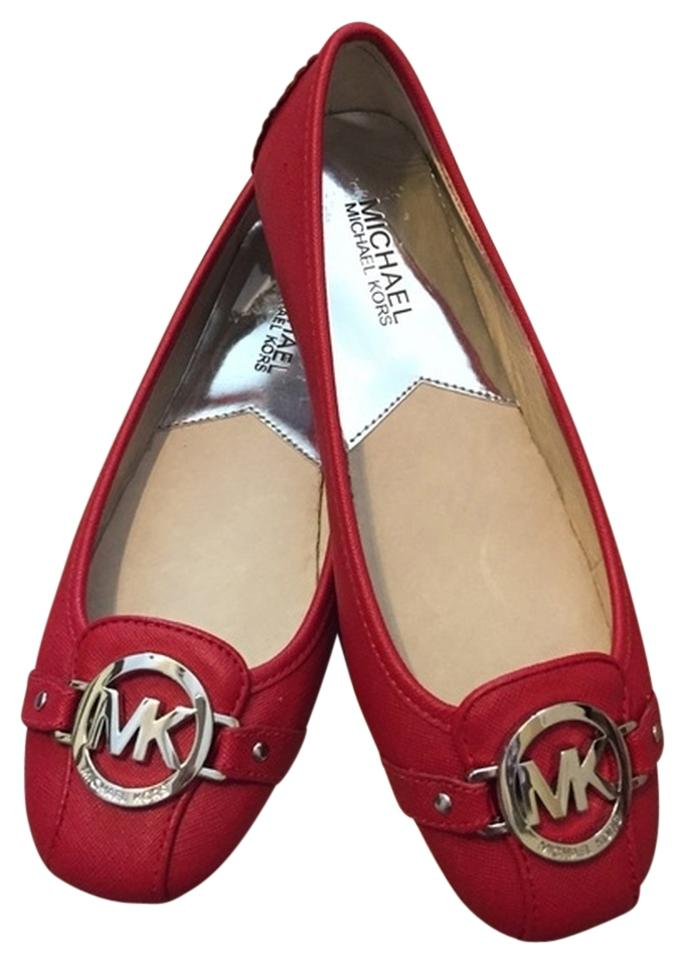 e48188186709 Michael Kors Red New Fulton Saffiano Moc Flats Size US 8.5 Regular ...