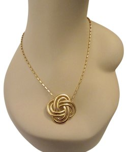 Trifari Vintage Crown Trifari Celtic Knot Pendant Necklace Signed Logo Charm Gold Tone --Superb!