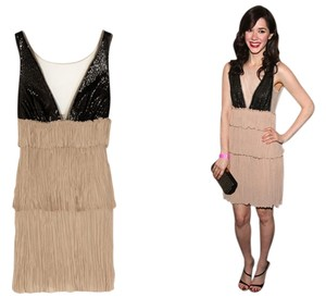 BCBGMAXAZRIA Crepe Sequin Tiered Gatsby-inspired Roaring 20s 1920s Dress