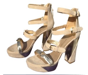 Stuart Weitzman Suede Leather Beige Nude/beige with light brushed gold Sandals