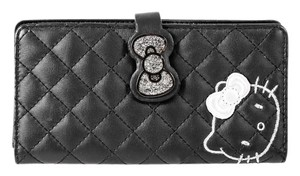 Hello Kitty * Hello Kitty Black Quilted Leather Wallet