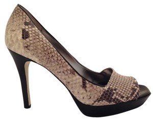 Guess By Marciano Open Toe Black with Python Snake Print Platforms