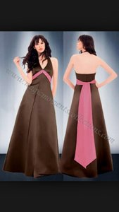 Bill Levkoff Sable/Brown Satin 684 Formal Bridesmaid/Mob Dress Size 8 (M)