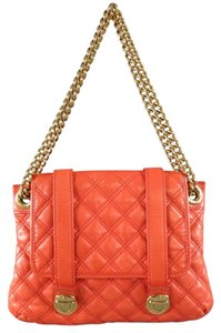 Marc Jacobs Quilted Orange Pink Salmon Gold Chains Grommets Snap Shoulder Bag