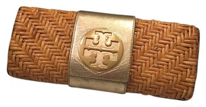 Tory Burch Straw Leather Summer Metallic Natural, gold Clutch