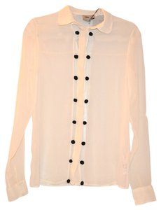 ASOS Chiffon Buttons Collared Sheer Top Off White