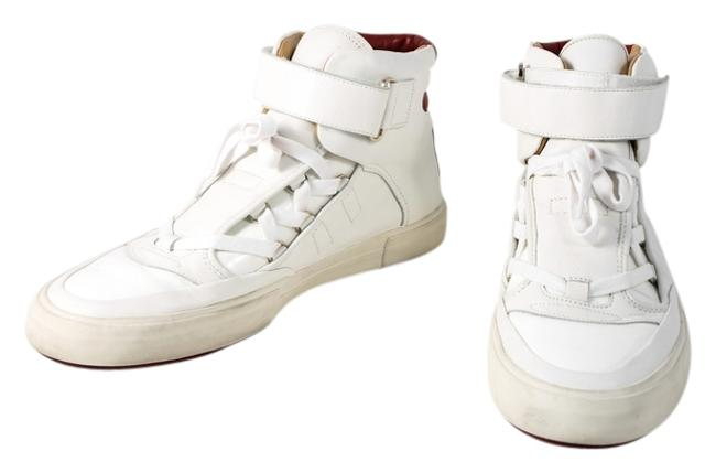 Item - White Leather/Patent Lace Up Red Stripe Hi Tops Sneakers Size US 9 Regular (M, B)