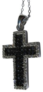Sterling Silver Cross w/ Black & White CZ -- NWT! - Necklace