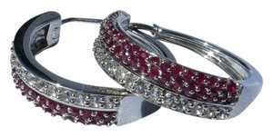 Genuine Ruby and White Sapphire Sterling Silver Hoop Earrings-- NWT! -
