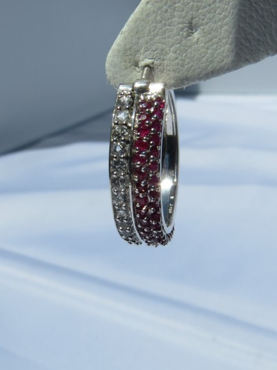 Other Genuine Ruby and White Sapphire Sterling Silver Hoop Earrings-- NWT! -