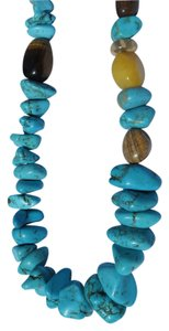 Chunky Turquoise, Tiger Eye and Agate Necklace - NWT