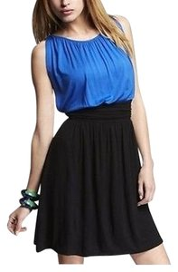 Express short dress Blue/Black Ruched on Tradesy
