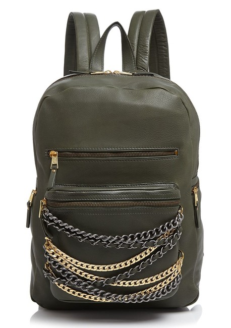 Item - New Domino Chain Army Green/Tarnish Silver/Matt Gold Leather Backpack