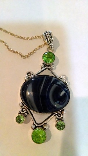 Other Striped Agate & Green Amethyst Gemstone Necklace Set 925 Silver J306