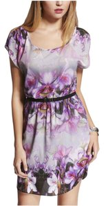 Express short dress Purple/Multi Hibiscus Floral Belted Cold on Tradesy
