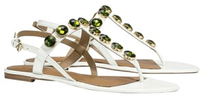 Tory Burch Sandal Patent Leather Ivory White & Green Flats