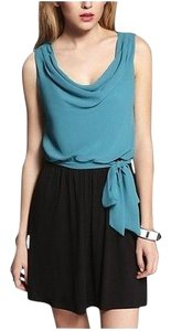 Express short dress Teal/Black Mixed Media Color-blocking on Tradesy