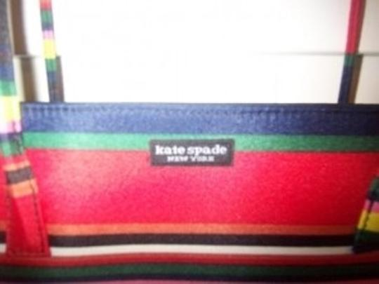 Kate Spade Tote in striped, Navy, red, green, yellow and white