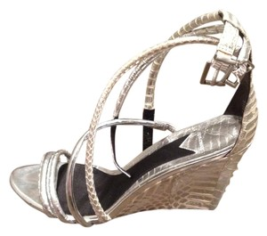 Brian Atwood Metallic Wedge Ankle Strap Silver Sandals