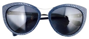 Balenciaga Balenciaga Navy Blue With Silver Trim Cat Eye Framed Sunglasses