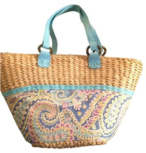 Vera Bradley blue and tan Beach Bag
