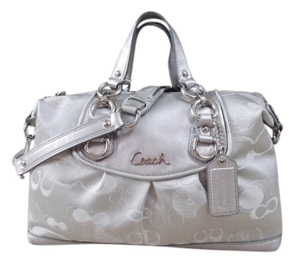 e109b98a07 Coach Madison Sabrina Floral Silver/Grey Canvas & Leather Satchel ...
