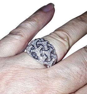 Other Sterling Silver Woven Pave CZ Ring