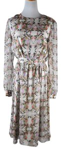 ERDEM Silk Floral Bird Print Long Sleeve Size 6 Knee Length Dress
