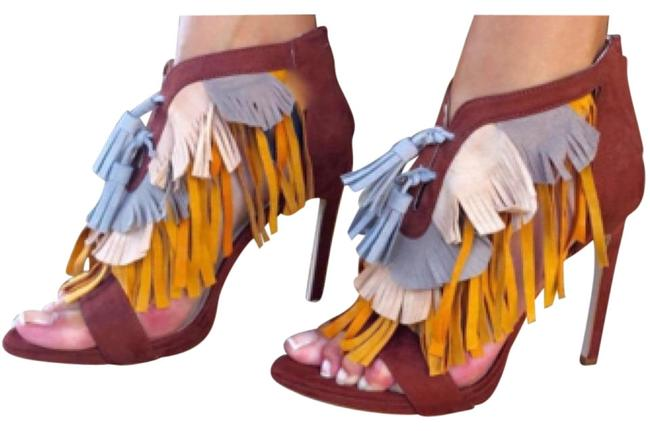Item - Brown Tan Yellow Rare Tri-color with Fringe - New with Tags Sandals Size US 7.5 Regular (M, B)