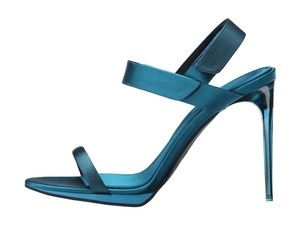 Burberry Peep Toe Heels Metallic Blue Teal Pumps