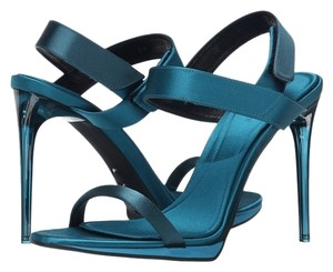 Burberry Heels Blue Metallic Women Made In Italy Sale Clearance Blue/Teal Pumps