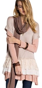 Easel Pink Ace Ruffles Top Light Cocoa