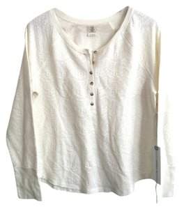 O'Neill Henley Lace Comfy Layering Americana Top Ivory