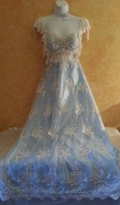 Ivory Beaded Lace Powder Blue Vintage Goddess Empire Waist Sweetheart Babydoll Sheath Satin Wedding Bridal Gown Wedding Dress